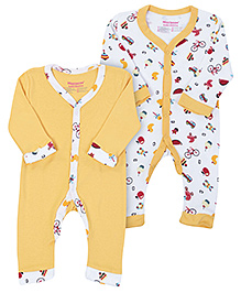 Morisons Baby Dreams Red Full Sleeves Romper - Set Of Two