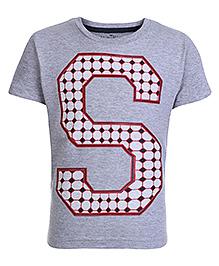 Palm Tree Grey Half Sleeves Red S Print T Shirt