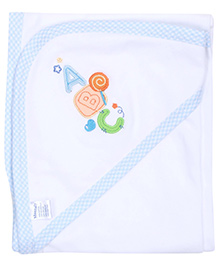 Montaly Hooded Baby Towel - Blue and White
