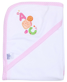 Montaly Hooded Baby Towel - White and Pink