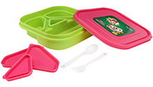 Pink and Green 18 x 18 x 4.5 cm, High quality lunch box with four partitions and 3...