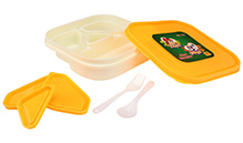 Yellow and White 18 x 18 x 4.5 cm, High quality lunch box with four partitions and 3...