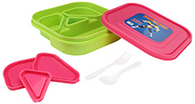 Green and Pink 18 x 18 x 4.5 cm, High quality lunch box with four partitions and 3...