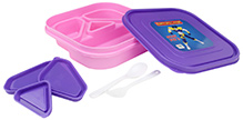 Purple and Pink 18 x 18 x 4.5 cm, High quality lunch box with four partitions and 3...