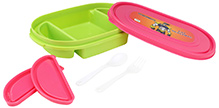 Pink and Green 21.5 x 14 x 4.5 cm, High quality lunch box with 3 partitions and 2...