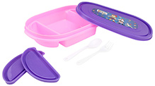 Purple and Pink 21.5 x 14 x 4.5 cm, High quality lunch box with 3 partitions and 2...