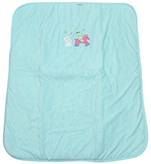 Montaly Cat Embroidery Baby Towel - Sea Green