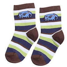 Mustang Elephant Design Ankle Length Socks - Green