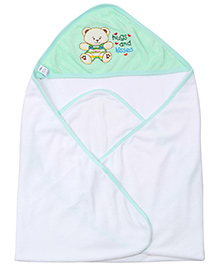 Montaly Teddy Print Hooded Towel - Bottle Green