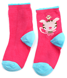 Mustang Pink Ankle Length Socks - Cat Print