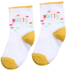 Mustang White Ankle Length Socks - Pretty Print
