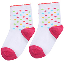 Mustang White Ankle Length Socks - Polka Dots Print