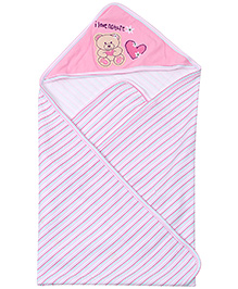 Montaly Hooded Baby Wrapper - Pink