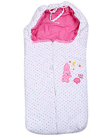 Rabbit Print Baby Sleeping Bag - Pink