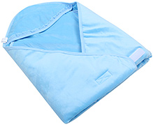 Bear Patch Wrapper with Hood - Blue