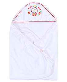 Montaly White Wrapper - Sweet Baby Embroidery