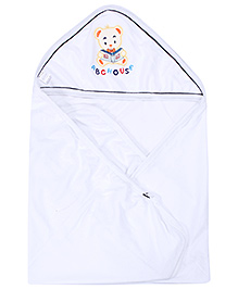 Montaly Bear with ABC Print Hooded Baby Towel - White