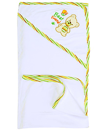 Montaly Baby Towel- White and Green