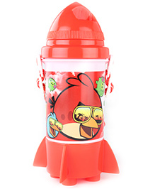 Angry Birds Classic Red Straw Water Bottle - 350 Ml - 11 X 11 X 21 Cm