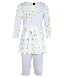 Papple Off White Full Sleeves Tunic Top With Leggings