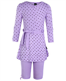 Papple Purple Full Sleeves Tunic Top With Leggings - 1 To 2 Years