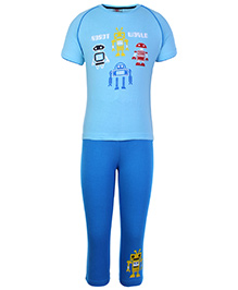 Punkster Half Sleeves Robot Print T Shirt And Pyjama Set - Blue