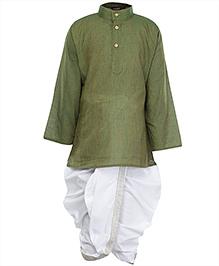 Bhartiya Paridhan Full Sleeves Kurta And Stitched Dhoti Set - Green