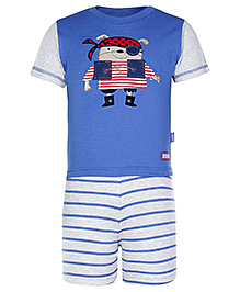Child World Priate Print Short Sleeves T Shirt and Shorts - Blue