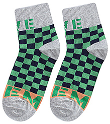 Bonjour Check Design Socks - Green N Grey