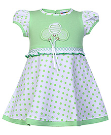 SAPS Puff Sleeves Polka Dots Print Frock - Green