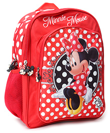 Mickey Mouse and Friends School Bag Minnie Mouse Print Red - 14 Inch