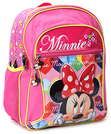 Mickey Mouse And Friends School Bag Minnie With Bow Print Pink - 18 Inch - 34 X 17 X 45 Cm