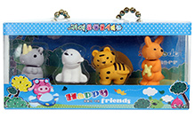 Animal Shape Assorted Eraser Set - Pack of 4