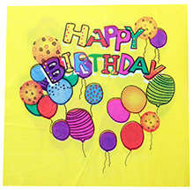 Paper Napkins Happy Birthday and Balloon Print Yellow - 20 Pieces
