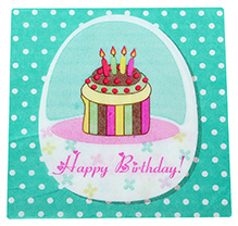 Paper Napkins Happy Birthday and Cake Print  Green - 20 Pieces