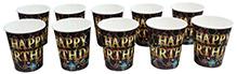 Paper Cups Happy Birthday Printed Black  - Pack of 10