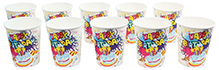 Paper Cups Happy Birthday and Cake Printed White - Pack of 10