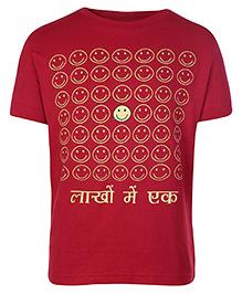 Sabudana Red Half Sleeves T Shirt - Smileys Print