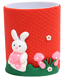 Rabbit Figurine Pencil Holder Red