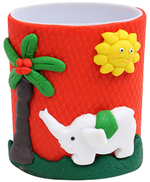 Pencil Holder Elephant Figurine Red