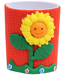 Pencil Holder Sunflower Pattern Red