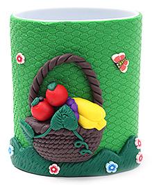 Pencil Holder Fruit Basket Figurine - Green