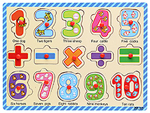 Wooden Number and Mathematical Signs Puzzle - 15 Pieces