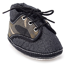 Littles Black Denim Baby Booties
