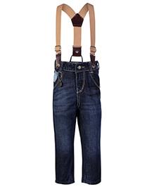 Gini & Jony Fixed Waist Jeans With Suspenders - Navy Blue