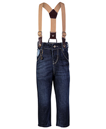 Gini & Jony Fixed Waist Jeans With Suspenders - Navy Blue