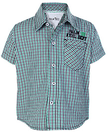 Palm Tree Green Half Sleeves Shirt - Checks Design