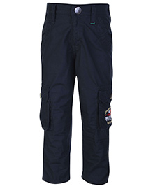 Palm Tree Black Full Length Trouser - Embroidered Pockets
