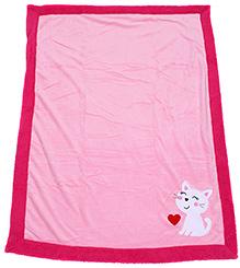 Baby Blanket Kitten Print - Pink