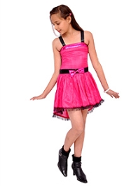 Kidzblush Pink Singlet Plain Party Frock - Sequins Bow